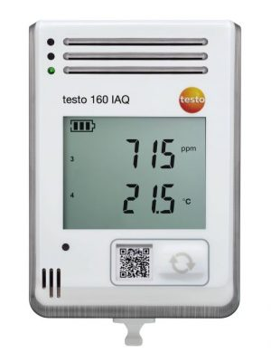 testo 160 IAQ – WiFi data logger with display and integrated sensors for temperature, humidity, CO2 and atmospheric pressure